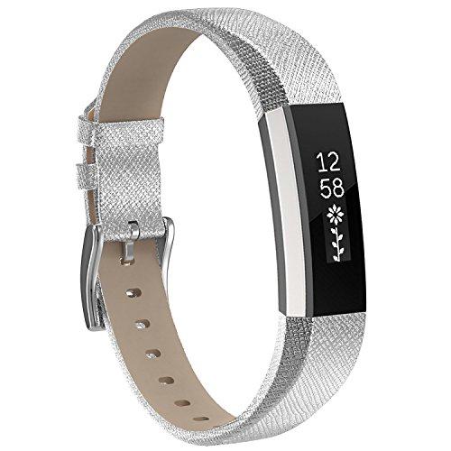 Für Fitbit Alta HR und Fitbit Alta Leder Armband,SnowCinda Verstellbares Ersatzarmband Wristband Unisex Gurt Fitness Zubehörteil mit Metallschließe (Silber)