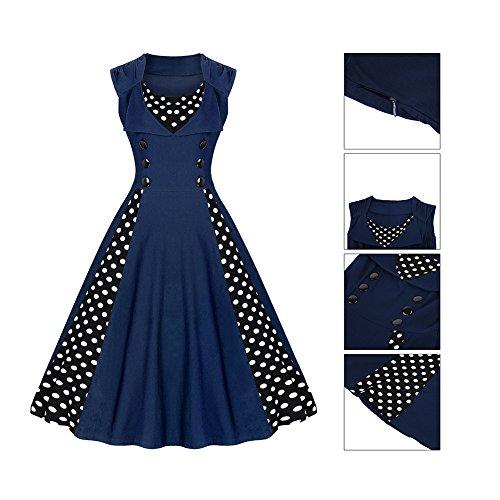 Clasichic Damen 50s Retro Vintage Rockabilly Kleid Ärmellos Cocktailkleid Faltenrock Partykleid mit Polka Dots Mittelblau
