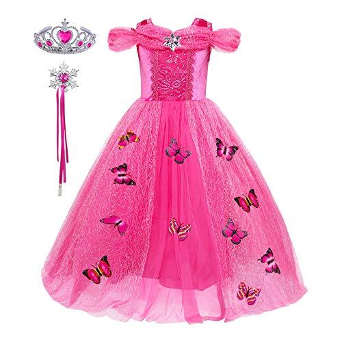 Prinzessin Mädchen Kostüm Schmetterlings - FStory&Winyee Mädchen Prinzessin Kleid Kinder Cinderella Kostüm Schmetterlinge Verrrücktes Kleid für Karneval Cosplay Weihnachten Hochzeit Brautjungfer Partei Kostüm Set Krone und Zauberstab Geschenk