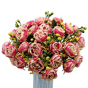 MZMing [4 Piezas] Flores de Peonía Artificial Flor de Peonía Falsa Arreglos Florales Ramo de Novia Flor de Seda con…