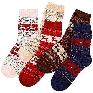 Kentop Engrosamiento Calcetines Patrón de Renos de Navidad Adulto Calcetines Una Caja de 5 Pares