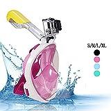 Nuevo profesional plegable completo seco completo cara máscara fácil respiración buceo natación gafas equipo de Snorkel para Gopro, Xiaomi, SJ cámaras (Rosa, Grandes--L/XL)