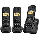 Siemens Gigaset A120 Trío - Teléfono fijo inalámbrico (configuración plug & play, ECO DECT) Color negro