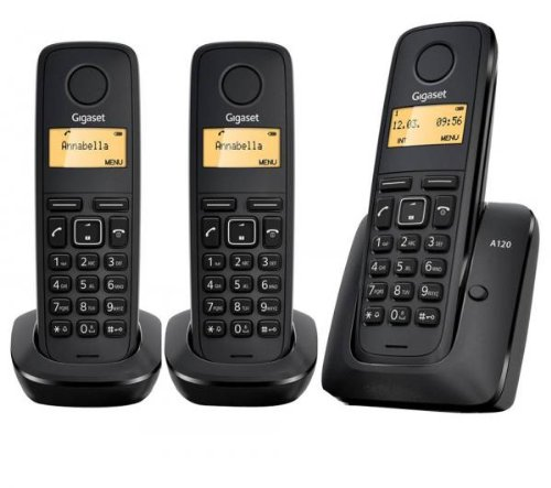 Gigaset A120 - Teléfono inalámbrico (DECT, GAP, Eco Mode Plus, 50 contactos) color negro - kit de tres unidades