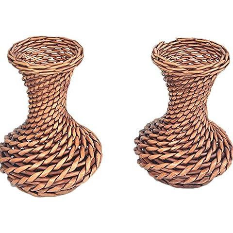Lugii Cube faite à la main en osier Panier de fleurs Pot de fleurs Paille ameublement Ornements Vase de fleurs artificielles