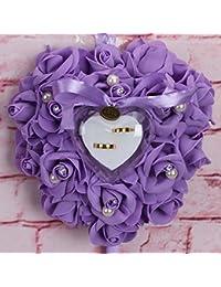 RENNICOCO Romántico Rosa Boda Anillo Cojín Corazón Anillo Almohada Joyero, Color 4, 25 x 25 x 14cm