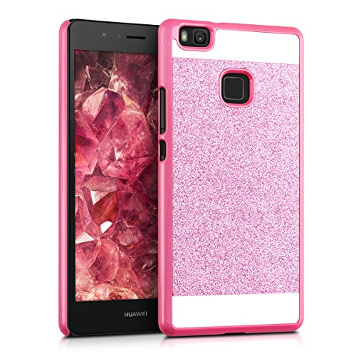kwmobile Hardcase Hülle für Huawei P9 Lite mit Glitzer Rechteck Design - Hartschale Backcover Case Schutzhülle Cover in Pink Weiß