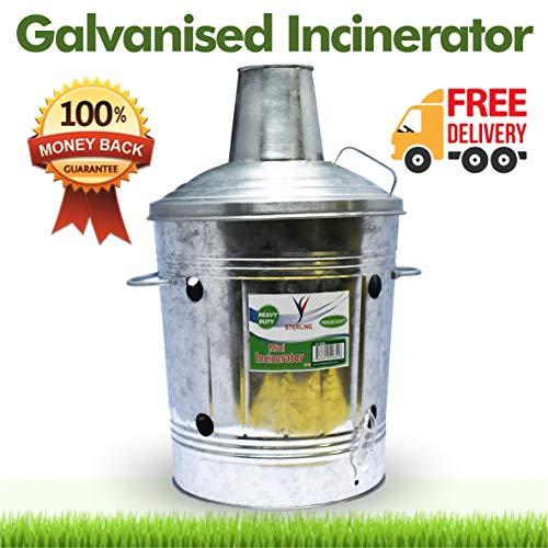 15L Mini Galvanised Incinerator Fire Bin for Rubbish Wood Garden Waste