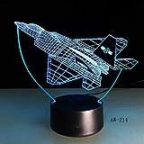 7 aeromobili telecomandati a colori 3D ha condotto l'illusione della luce Lampada da tavolo colorata Lampada da ufficio Lampada da notte per la casa Lampada da atmosfera per bambini Regalo per bambini