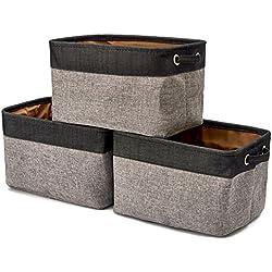EZOWare Boîte de Rangement Pliable en Lin avec Les poignées, Panier de Rangement, Rangement de Qualité - Pack de 3 - Gris et Noir