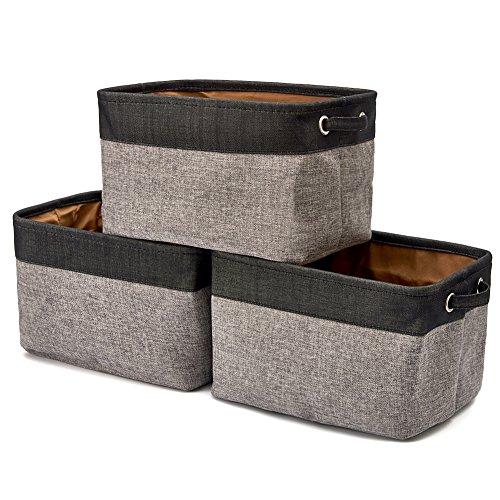 EZOWare faltbare Aufbewahrungsbox aus Leinen Aufbewahrungskorb mit Griffen – 3er Set- Grau und Schwarz (Magazine Korb)