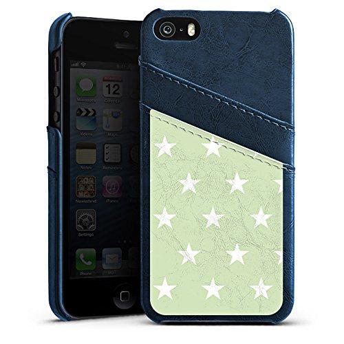 Apple iPhone 5s Housse étui coque protection Petite étoile Motif Motif Étui en cuir bleu marine