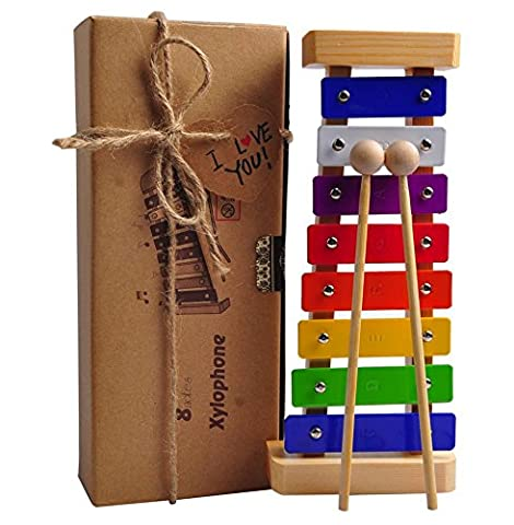Xylophone Toy for Kids: Best Glockenspiel for your Mini Musicians; Educational Percussion Instrument with Bright Multi-Colored Bars and Child-Safe Wooden Mallets; Perfectly 8 Toned Musical Gift for