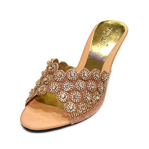 W & W Frauen Damen Abend Fashion Sandale Komfort mit Brautschmuck Hochzeit Keilabsatz Schuhe Größe (Bahar) Pfirsichfarben