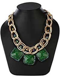AMNOR Gold Alloy Double Layer Chunky Chain Green Resin Square Choker Necklace For Women