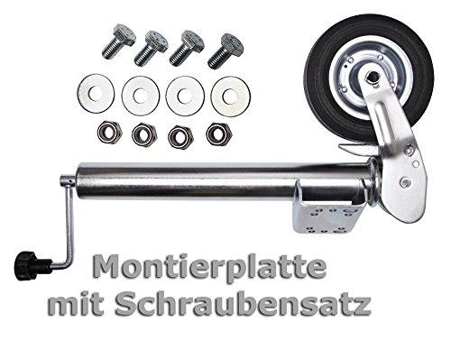 PKW Anhänger Stützrad Automatik Wohnwagen Stützrad Trailer Bugrad Hänger Stützrad Stahlfelge klappbar Klapp Rad Test