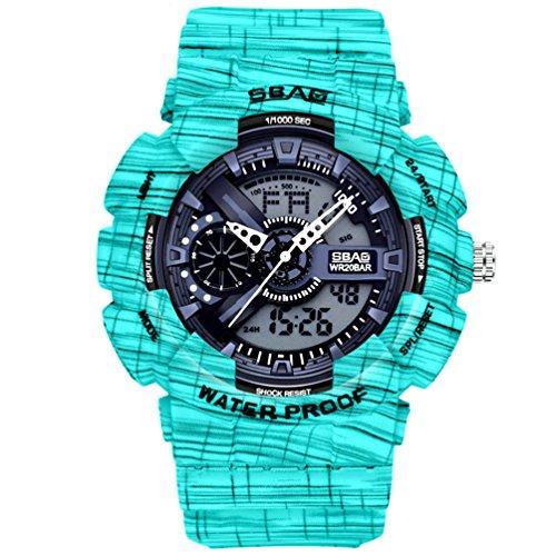 Ssq-cxo orologio sportivo da studente per uomo, doppio display cinturino in pu con movimento elettronico potenziato