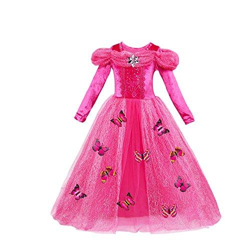 Lee Little Angel Festival Girl Cinderella Langärmelprinzessin Cosplay ausgefallene Schmetterlings Kleid (5 Jahre alt, Rose Red)