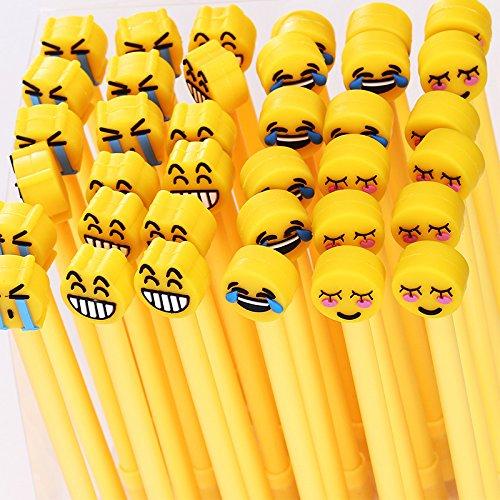 12 Pezzi Penna Neutra Nera Penne Roller a Inchiostro Gel Emoji
