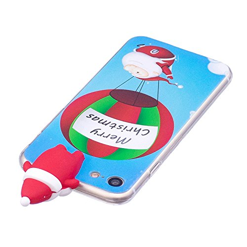 Cover iPhone 7 Case iPhone 8 Custodia Spiritsun Soft TPU Christmas Case Cover 3D DIY Case Elegante Flexible Natale Regalo Phone Cover Case Per iPhone 7/8 (4.7 Pollici) - Arco e albero di Natale Babbo Natale e palloncini