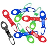 Dotters Portable Silicone Water Bottle Buckle, 10PCS Bottle Convenient Carrying Clip Hook Holder With D-Ring Hook for Camping Hiking Traveling with Emergency Aluminum Whistle