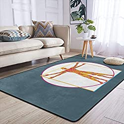 Heteyys Vitruvian Pop Indoor Floor Mat Living Room Household Carpet Children Play Mat Rectangle Carpet 84x60 in,Black,One Size