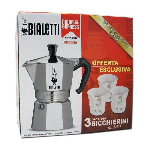 Bialetti-Cafetière à Expresso Moka Express 4720 pour 3 Tasses, avec 3 Tasses Espresso-Argent