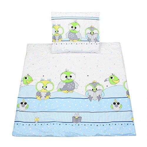 TupTam Unisex Baby Wiegenset 4-teilig, Farbe: Vögelchen Blau, Größe: 80x80 cm