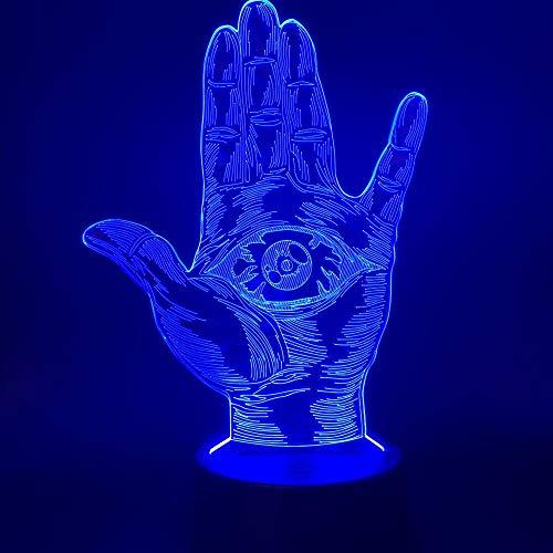 CYJQT 3D Nachtlichter Kinder Emotionen Lichter Hamsa Augen Vorsehung Führende Nachtlichter Dropshipping Projekt Farbwechsel Hand Nachtlichter Office Home Room Decor Lichter