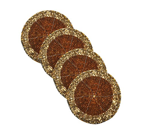 dakshcraft-golden-brown-ethnic-small-handmade-beaded-tea-coffee-coasters-dia-4-perfect-for-dining-de