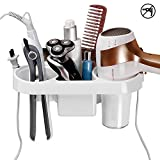 TIANG Sticky hair dryer rack, Drillless bathroom hair dryer shelf storage rack with hook up,Collector for hair care tools Curling stick ,Straight hair rod, basket of splint