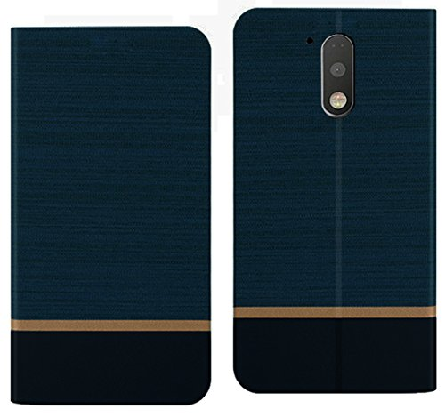 Febelo (TM) Professional Design Video Stand View Perfect Fitting Flip Cover Case for Moto G Plus 4th Generation / Moto G4 Plus – Navy Blue Color