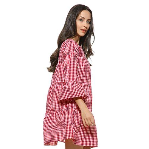 5240b5404b FEITONG Frauen Kleid Plus Size Plaid gefaltet Kleid Sommer Casual Gitter  Rock Rot ...