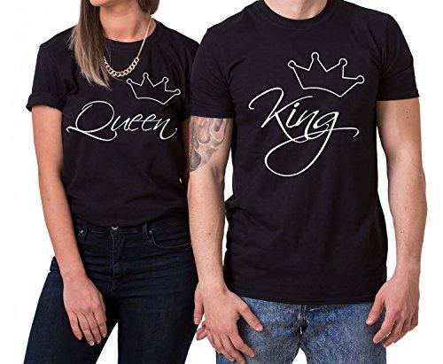 Line King Queen Partnerlook Camiseta de los Pares Dulce para Parejas...