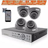 Govision 4-Kanal-Überwachungskamera-Set, 2,4 MP, 1080P, IR-CUT, Heim-Sicherheitssystem, 4 Kanäle, 1080N DVR mit 1080p für drinnen und draußen CCTV-Kameras für echte Tag- und Nachtüberwachung, Kamera, keine HDD im Lieferumfang enthalten, HDMI-Ausgang, einfacher mobiler Zugriff, E-Mail und Push-Benachrichtigung, H.264 Echtzeit-Streaming, Farbe: Grau
