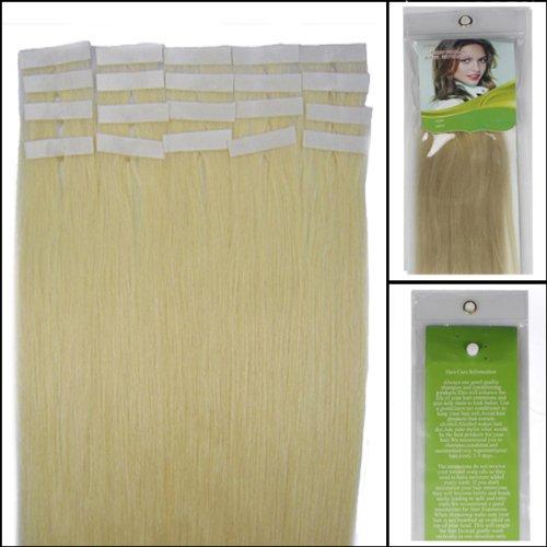 40,6 cm Bandes adhésives Extensions de cheveux humains droite Couleur 60 Blond platine 30 g 20 pièces Beauté Cheveux Style
