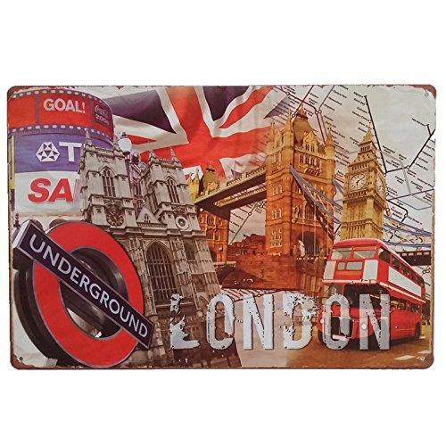 Placas Decorativas Vintage metalicas Londres. Carteles