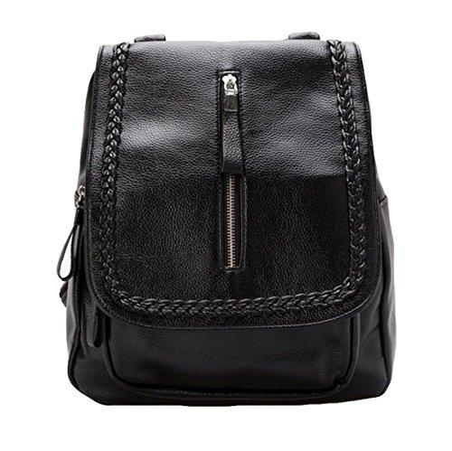 Damen Schultertasche Weichen Leder Rucksack Wilden Einfachen Tasche Freizeit Mode Handtasche Black