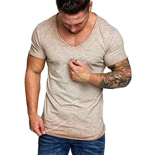 MRULIC Herren Casual Camouflage Print Patchwork O Neck Pullover T-Shirt Top Bluse(WHITE-Beige2XL) 6-zoll-sexy White Schuh