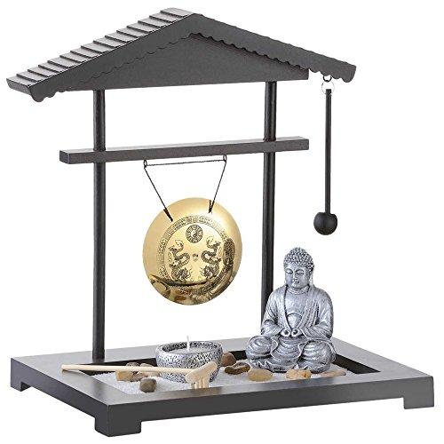 Monsterzeug Zen Garten mit Gong, Japanischer Mini Zengarten, Deko Buddha Figur