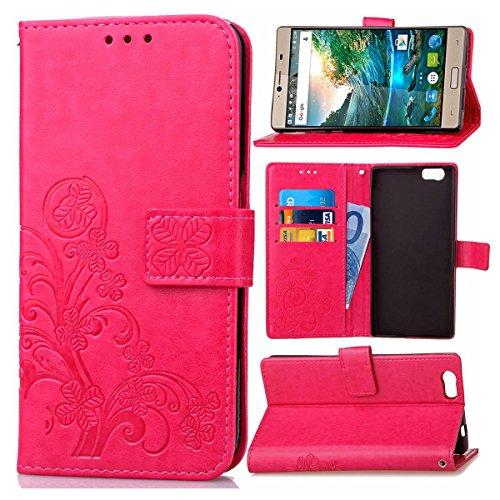 Guran® PU Ledertasche Case für Elephone M2 Smartphone Flip Cover Brieftasche und Stent Funktionen Hülle Glücksklee Muster Design Schutzhülle - Rose rot