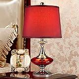 GOG@# Leseschreibtischlampe, Studentenwohnheim Tischlampe-Kreative Hochzeitsmode Rote Glastischlampe Schlafzimmer Nachttischlampe Europäische Moderne Minimalistische Beleuchtung Sch