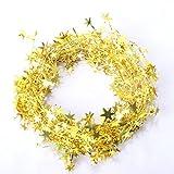 LQZ Weihnachtsbaum Band Bänder Dekoband Geschenkband Glitter Banner Girlande Stern Hochzeit Geburtstag 7,5m - Gold