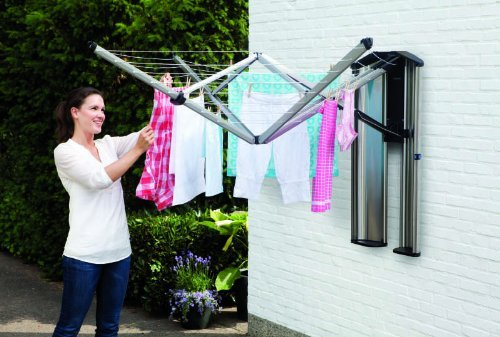 Brabantia WallFix Wall-Mounted Retractable Washing Line with Matt Steel Storage Box, 24 m - Silver
