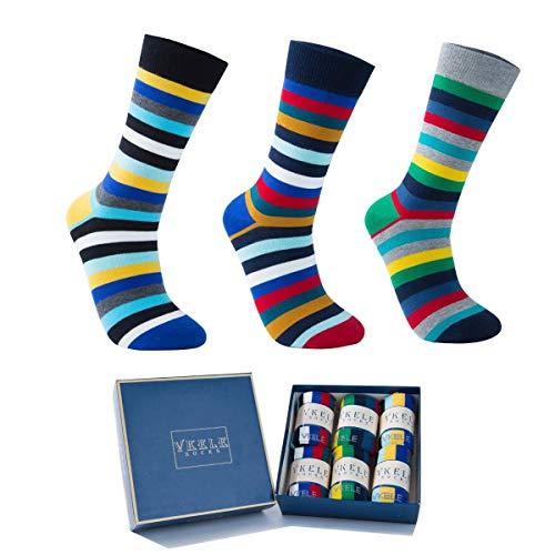 Vkele 6 Paar einfarbig Socken in Geschenkverpackung, kariert, bunt, punkte, gestreift, Business Herrensocken, Baumwolle, Crew Socken, Gr. 39-46, Gestreift (6 Paar), 39-42
