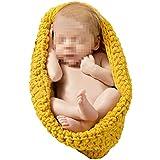 Tenflyer Hecho a mano de ganchillo Gorro de lana Stretch Wrap Niño durmiente Bolsa bebé recién nacido Foto Atrezzo Outfit vestuario (Amarillo)