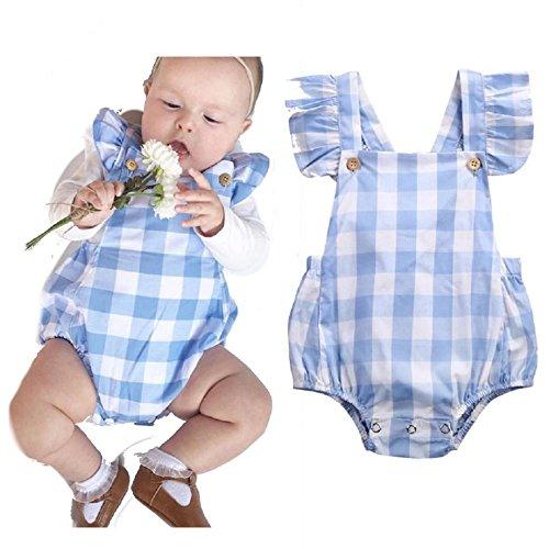 Lia Trachten Baby Strampler, Gr. 70, 4-6 Monate, blau/weiß kariert, 100% Baumwolle, Mädchen/Jungen Dirndl, extrem süß, Tracht, Body, blau 70