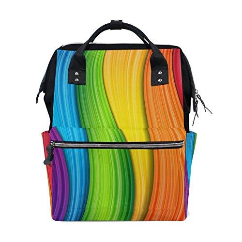 bennigiry bunt neon kontrast Regenbogen Wickeltasche Rucksack groß Kapazität Reise Back Pack Wickeltaschen Organizer Multifunktions-Baby Staubbeutel für Mama -