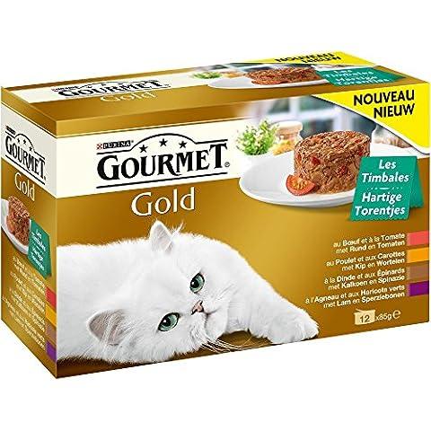 GOURMET GOLD Les Timbales : Bœuf-Tomate, Poulet-Carottes, Dinde-Epinards, Agneau-Haricots verts (12x85g) - Lot de 8