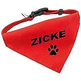 Hunde-Halsband mit Dreiecks-Tuch ZICKE, längenverstellbar von 32 - 55 cm, aus Polyester, in rot